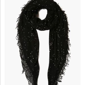 Chan Luu Black Cosmos Cashmere and Silk Scarf